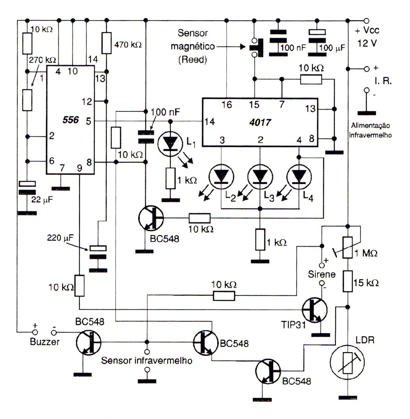 Circuito Eletronico : Eletrônico circuito alarme de passagem