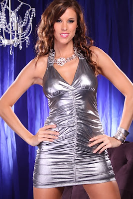 SILVER HALTER METALLIC SEXY CLUBWEAR RUCHED DRESS