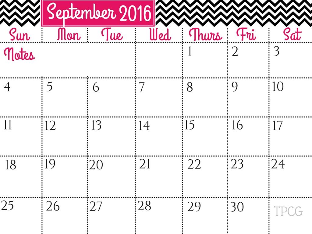 September 2016 Calendar & October 2016 Calendar