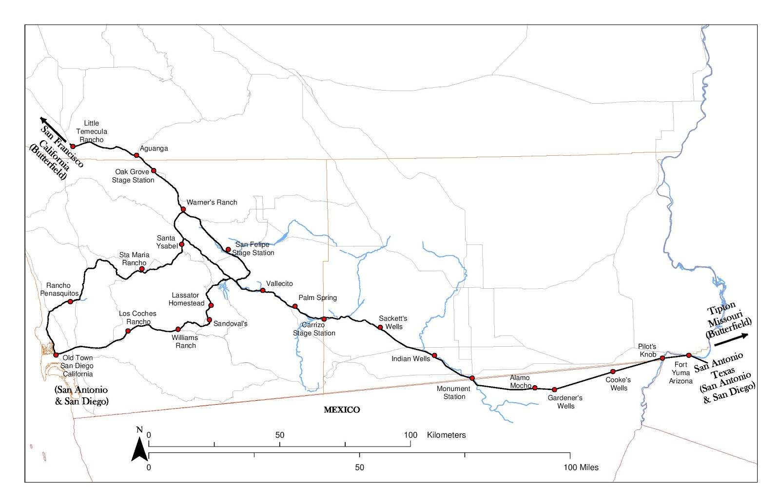 the san antonio and san diego mail line had two routes from vallecito to san diego california state parks