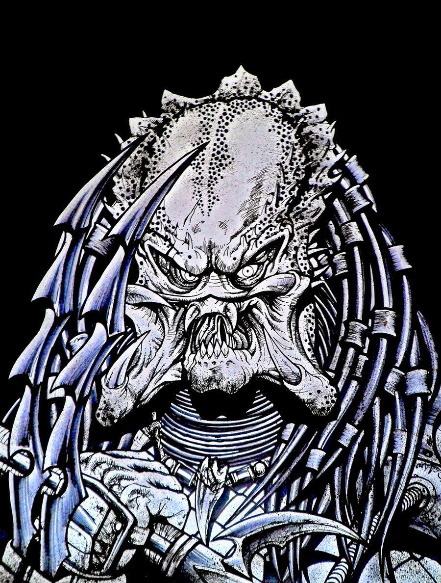 Dessin de Noël Guard représentant une version noir et blanc de Predator