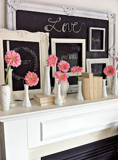 Valentines Day decorations, pink, mantel