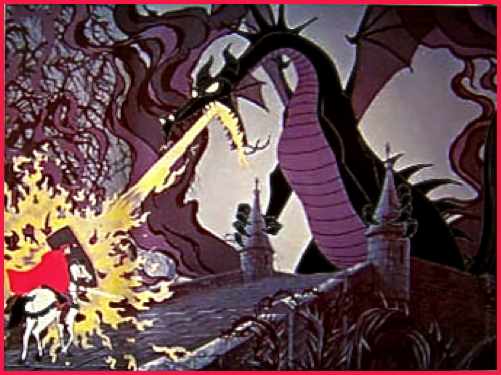 Prince Phillip battles the dragon in Sleeping Beauty 1959 animatedfilmreviews.filminspector.com