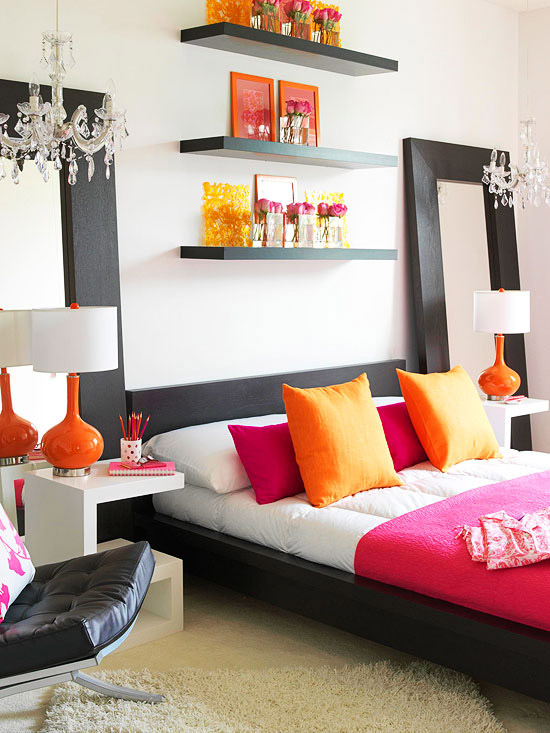 Pink and orange for a girl 39 s bedroom driven by decor - Orange bedroom decorating ideas ...