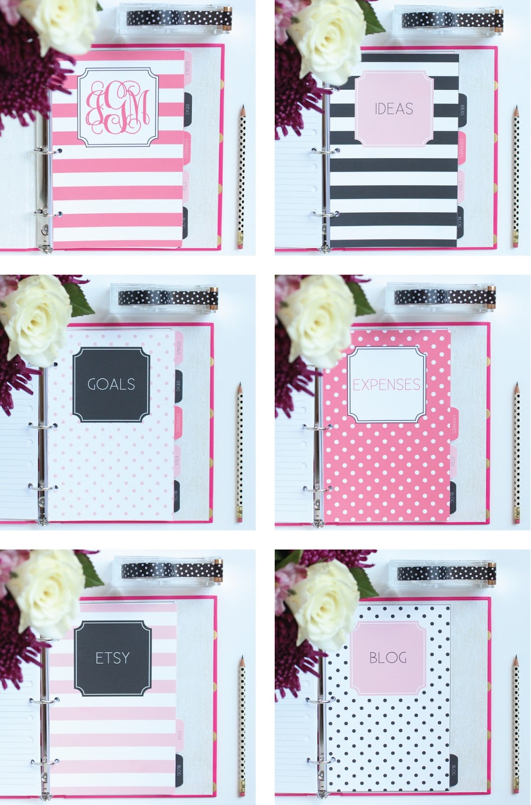 Customize the Monogram and Titles!  Printable Dividers for Mini Binders by Jessica Marie Design