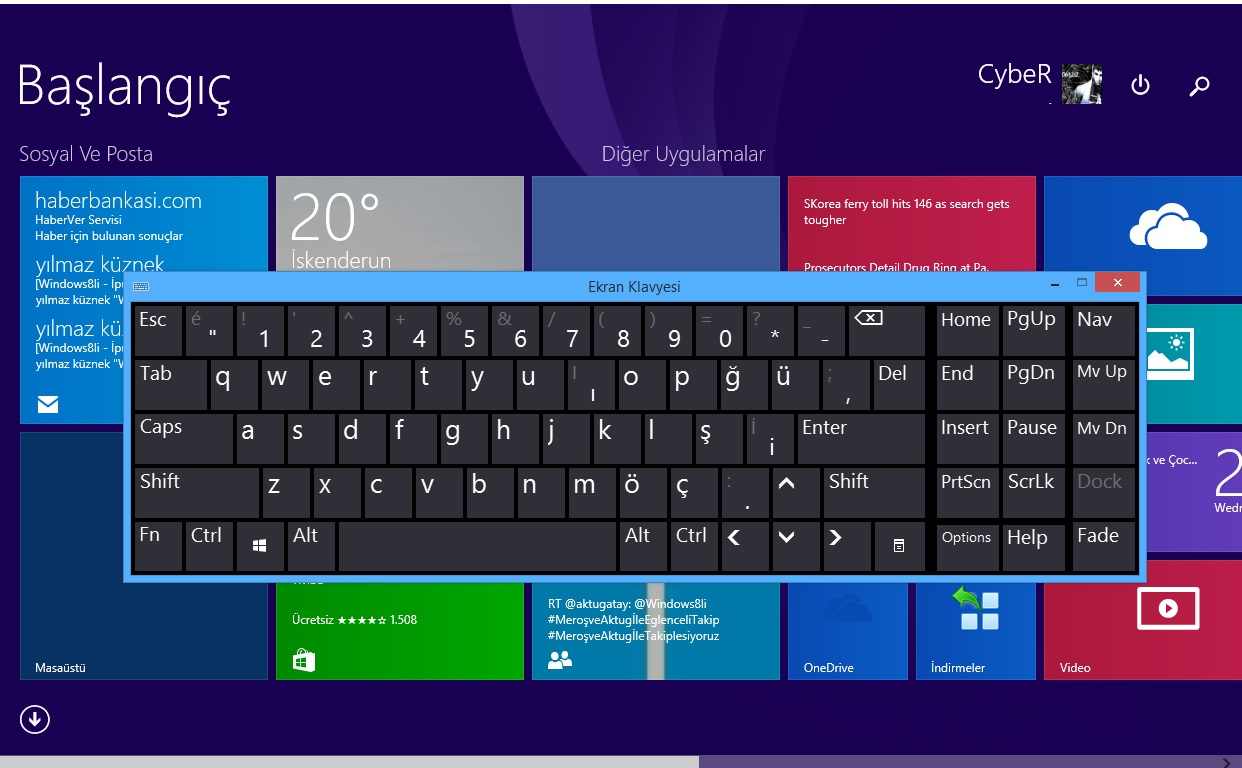 Windows 8 Ekran Klavyesi