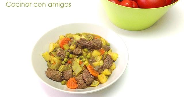 Menestra de verduras con ternera guisada cocinar con amigos - Hacer menestra de verduras ...