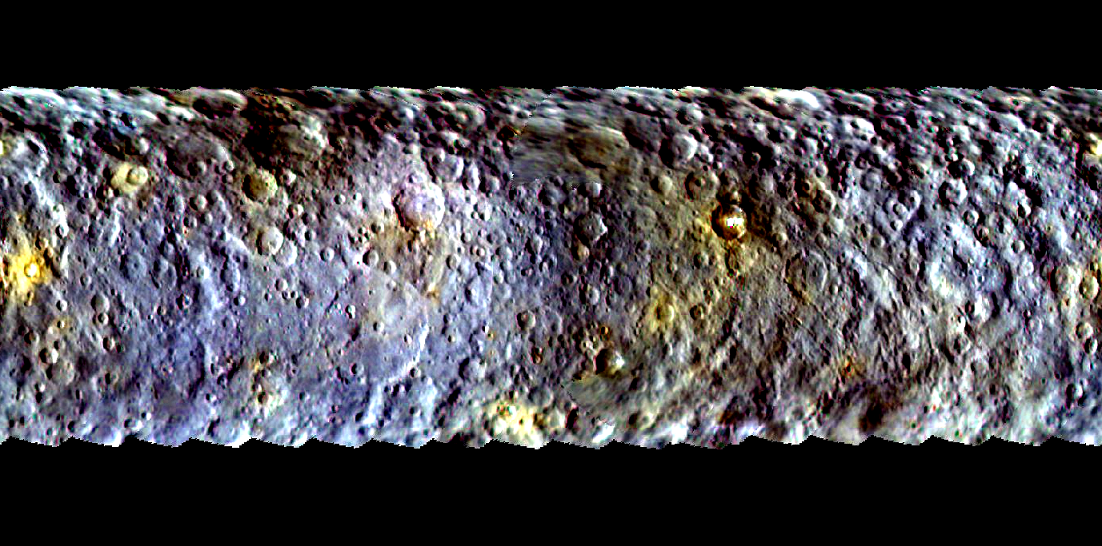 This map-projected view of Ceres was created from images taken by NASA's Dawn spacecraft during its initial approach to the dwarf planet, prior to being captured into orbit in March 2015. Image Credit: NASA/JPL-Caltech/UCLA/MPS/DLR/IDA