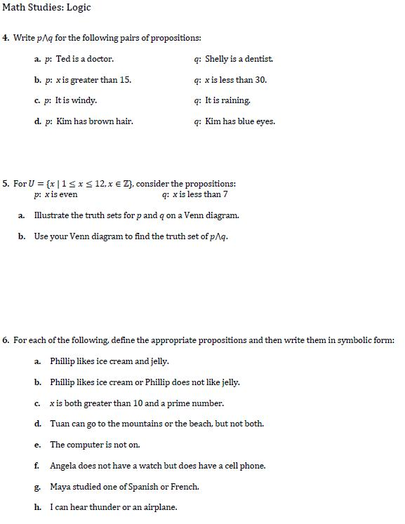 Southwest Math Studies Page Probability And Logic Worksheets