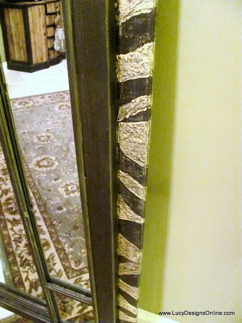 zebra stripes carved on wood mirror frame