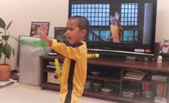 My son(5year old) acting Bruce Lee's nunchaku scene