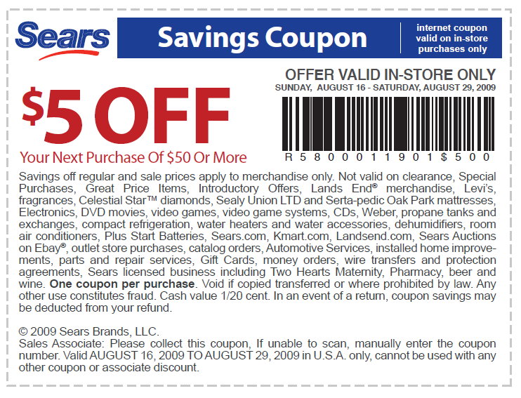 Sears discount coupon codes