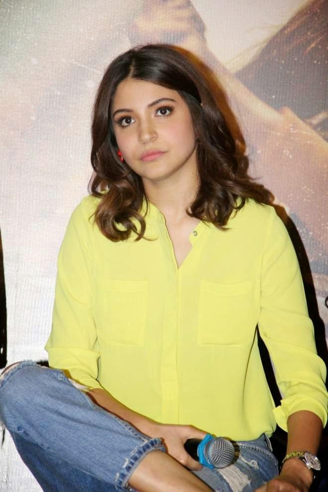 Anushka Sharma Yellow Top and Ripped Jeans Photos