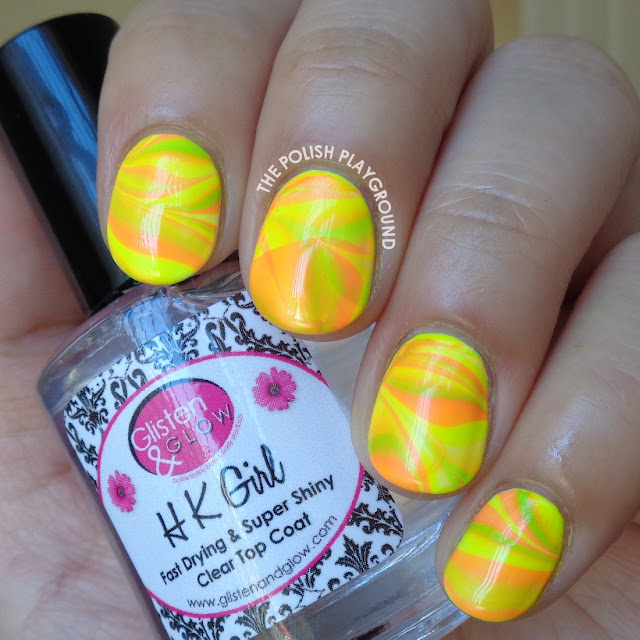 Neon Water Marble Nail Art
