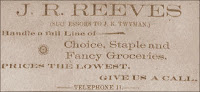 Reeves Advertisement from the Hopkinsville Kentuckian circa 1900