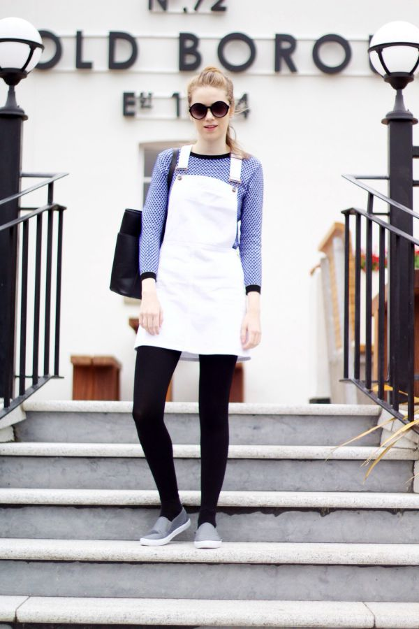 White denim pinafore dress