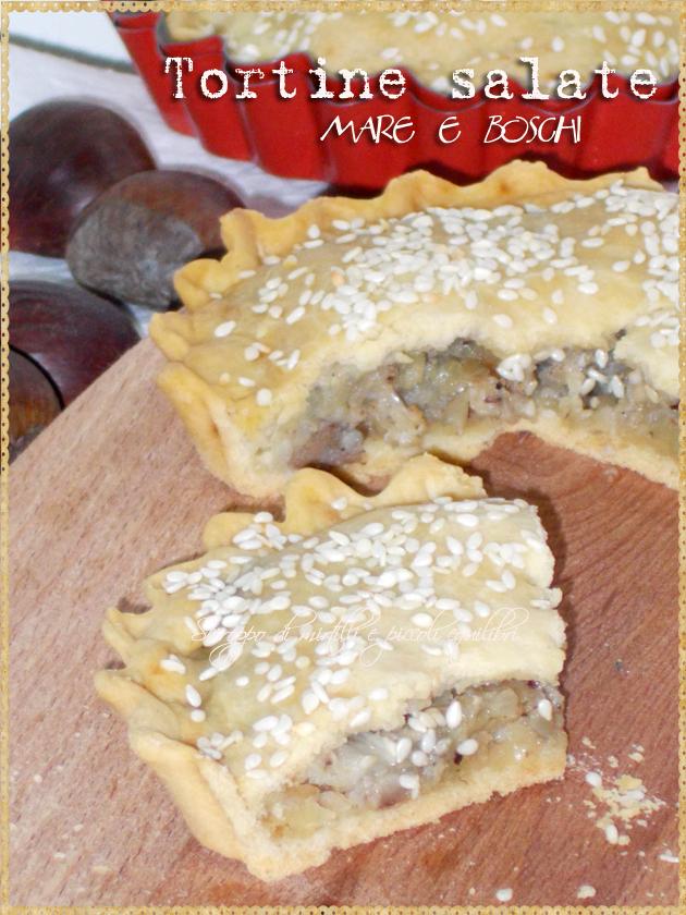 Tortine di pasta matta ripiene di platessa, funghi, castagne e nocciole
