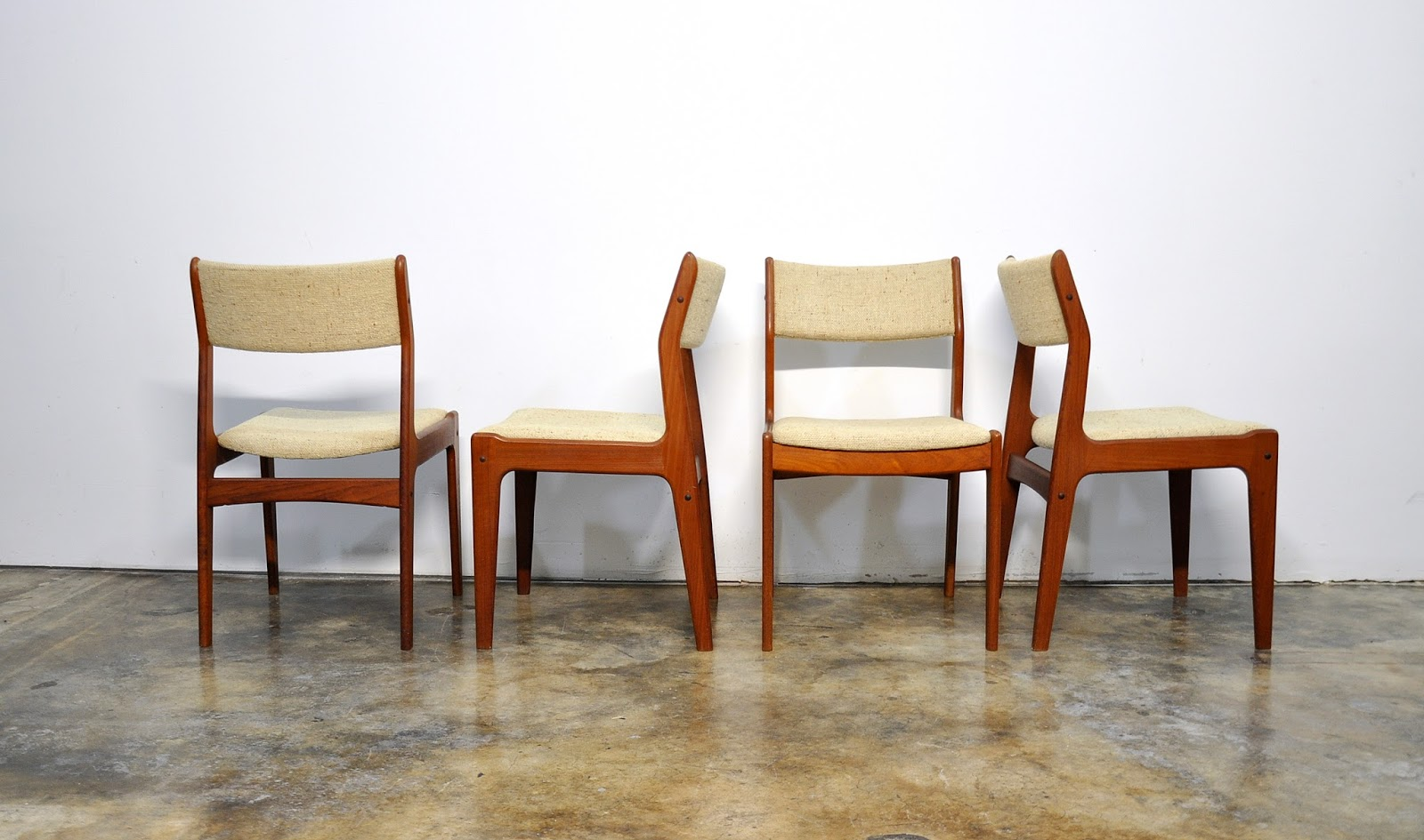 Select modern set of 4 danish modern teak dining chairs - Scandinavian chair ...