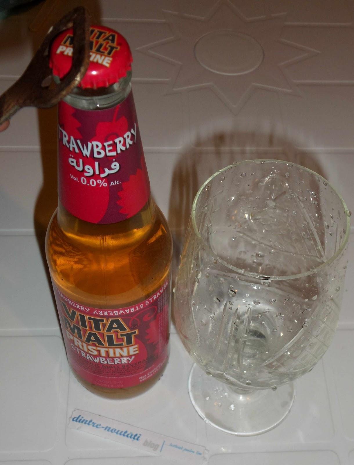 băutură răcoritoare non-alcoolică pe bază de malț cu aromă de căpșuni