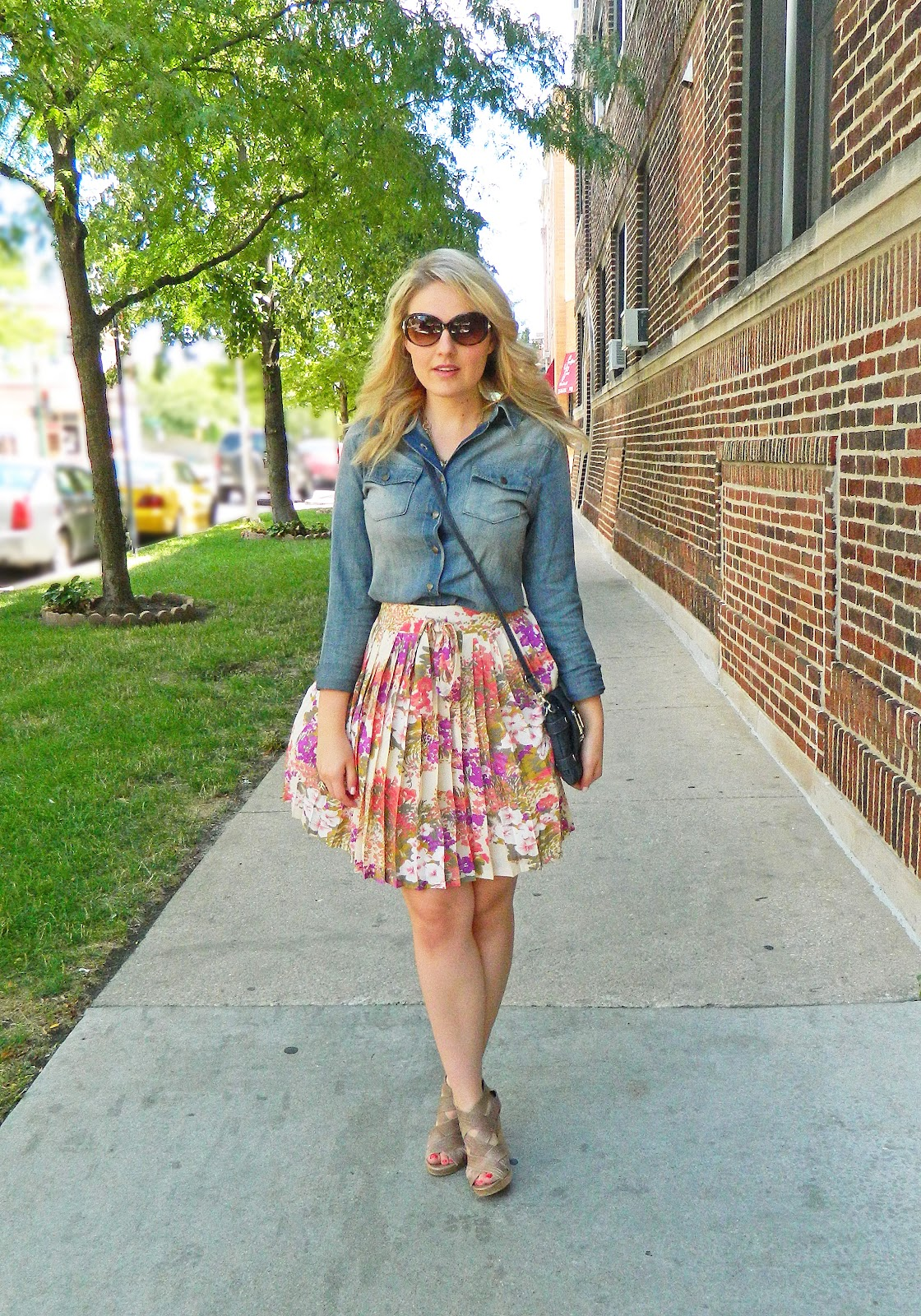 chambray shirt and floral skirt