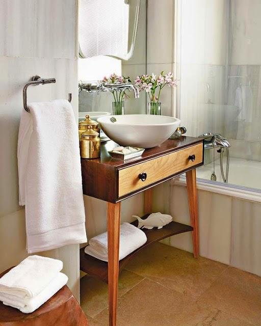 blog de decoração  Arquitrecos Aparadores para banheiros  Versatilidade  -> Cuba Para Banheiro Rustica