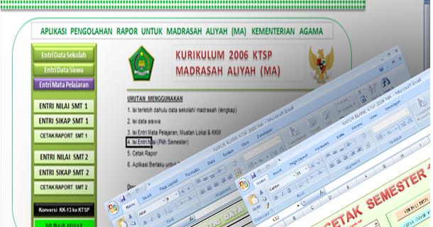 Aplikasi Pengolahan Nilai Raport Untuk Madrasah Aliyah Ma Ktsp Dan Kurikulum 2013 Dengan