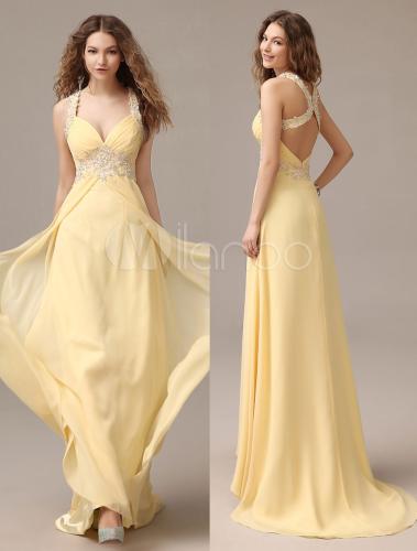 A-line Halter Beading Daffodil Chiffon Prom Dress