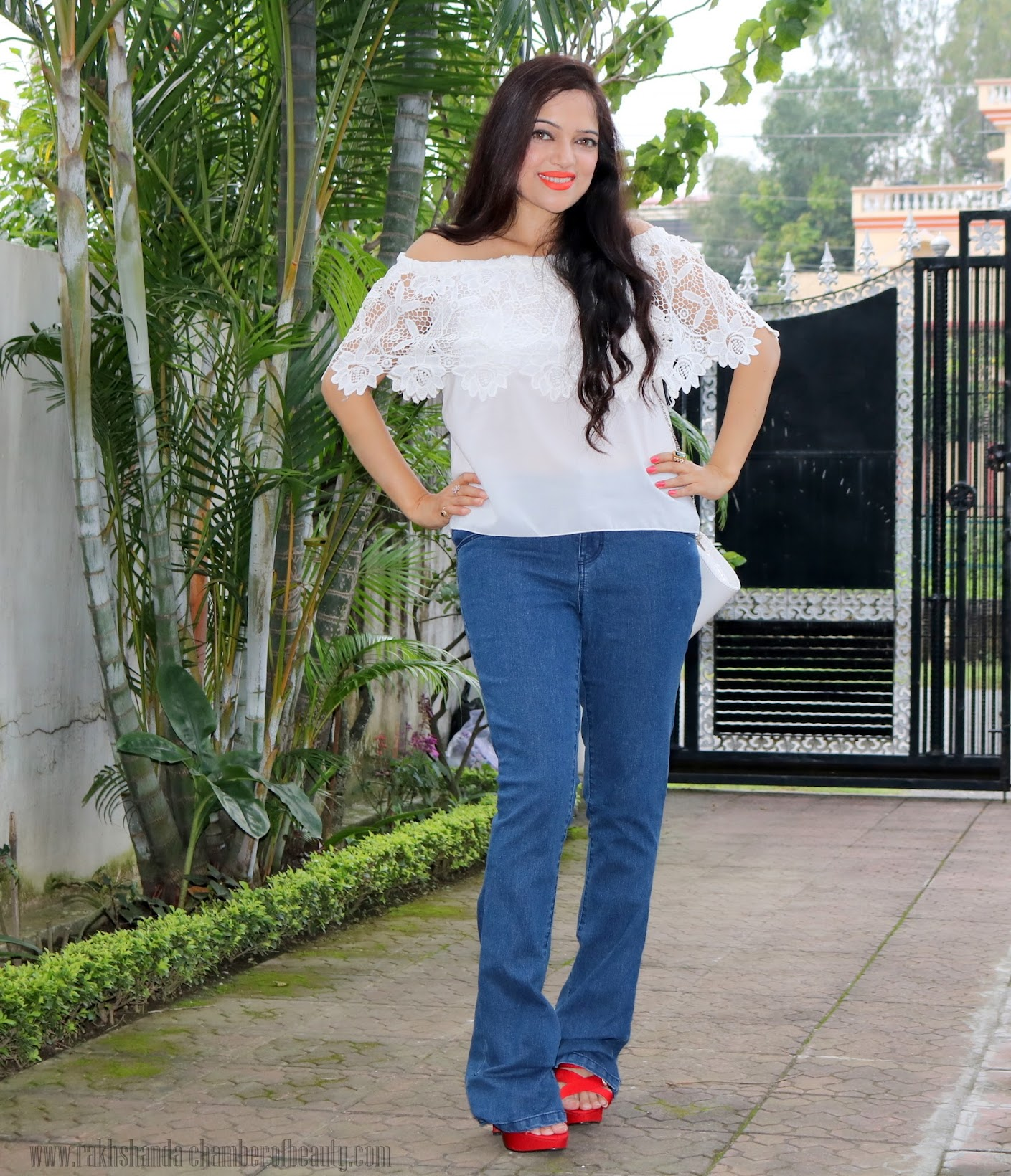 Styling an off-shoulder lace top- OOTD, Lace top from cndirect.com, retro fashion, fashion trends 2015, Indian fashion blogger, Chamber of Beauty