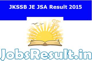 JKSSB JE JSA Result 2015