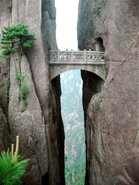 the bridge of immortals huangshan china