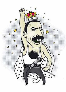 Карикатуры и шаржи на Фредди Меркьюри