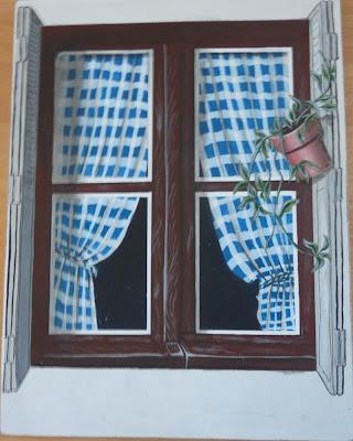 Chat,Fenêtre,Peinture