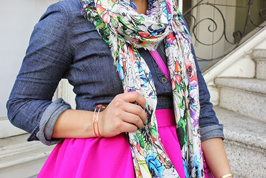 Express Watercolor Floral Scarf and Kate Spade Bangle