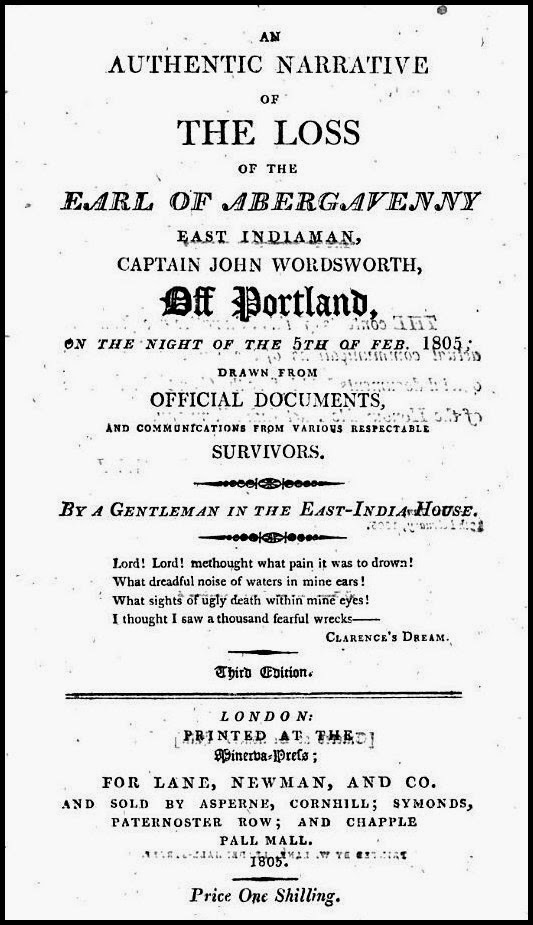 Frontispiece of one of several pamphlets issued about the sinking  of the Earl of Abergavenny