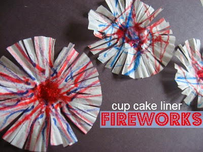 Cup Cake Liner Fireworks, 4th of July, Crafts