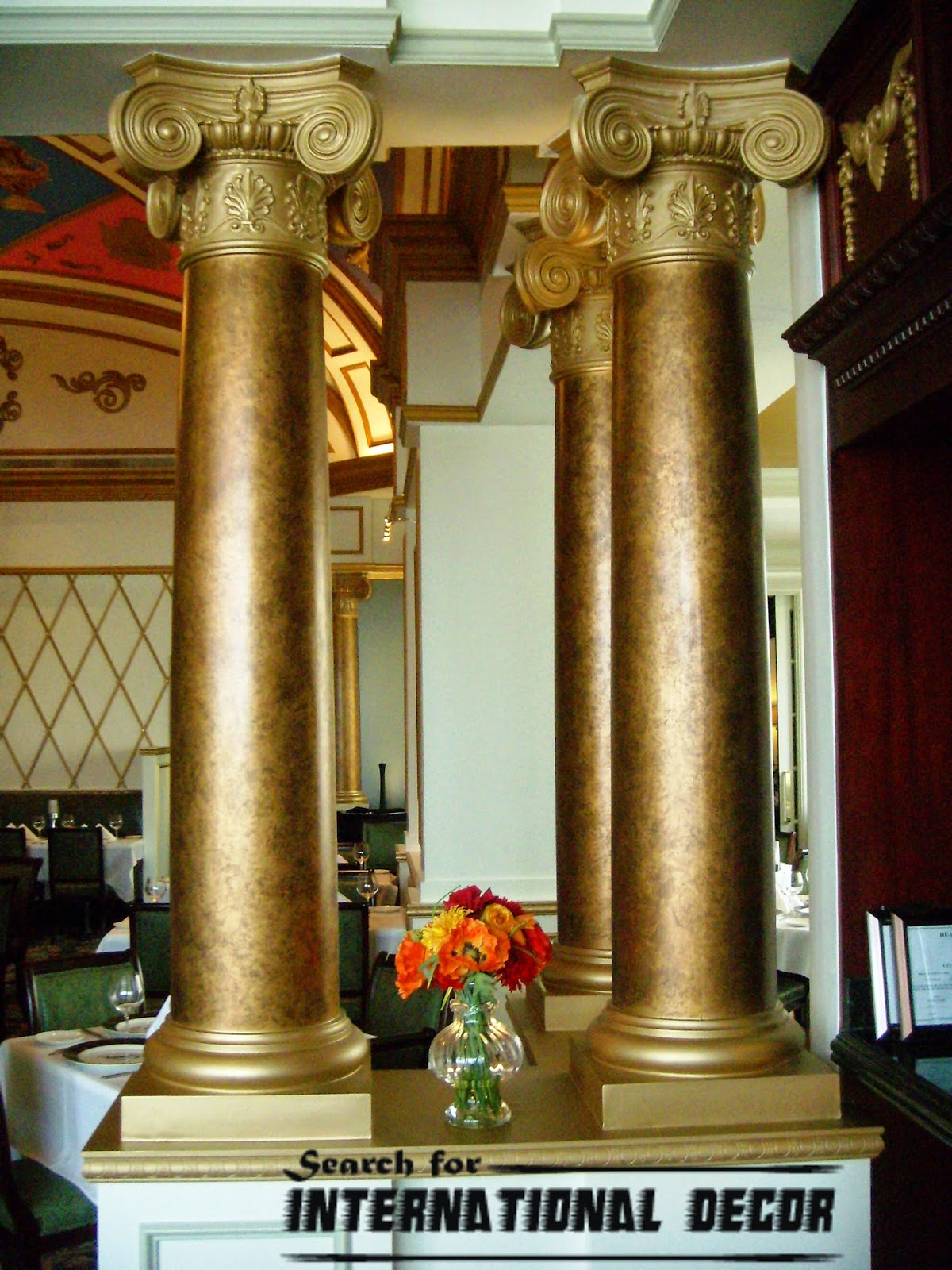 Decorative columns stylish element in modern interior for Fiberglass interior columns