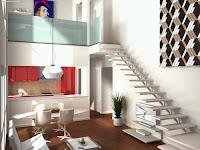 como decorar e organizar uma casa sendo um solteirão? aqui nesse post você encontra dicas de como decorar uma casa para quem mora sozinho, na imagem vemos uma casa branca pequena e bem decorada com uma escada bem compacta na esquerda.