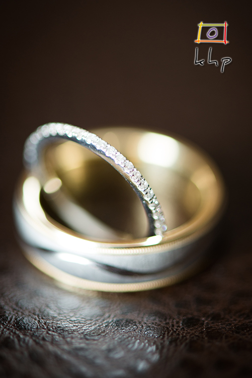 A macro shot of the wedding rings