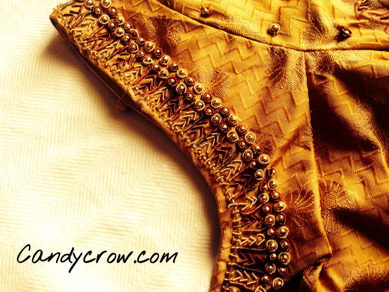 Blouse Design For Gold Color Silk Saree