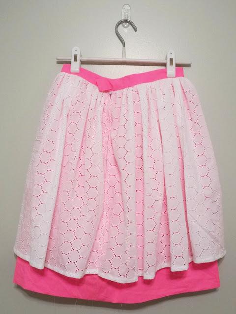 neon pink skirt with full eyelet overlay | alliemjackson.com