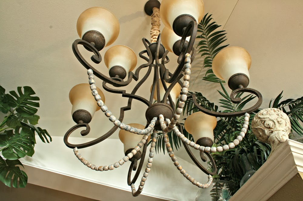 Overstock Grecian Chandelier with Wood Beads, annie sloan, french linen, old white, graphite
