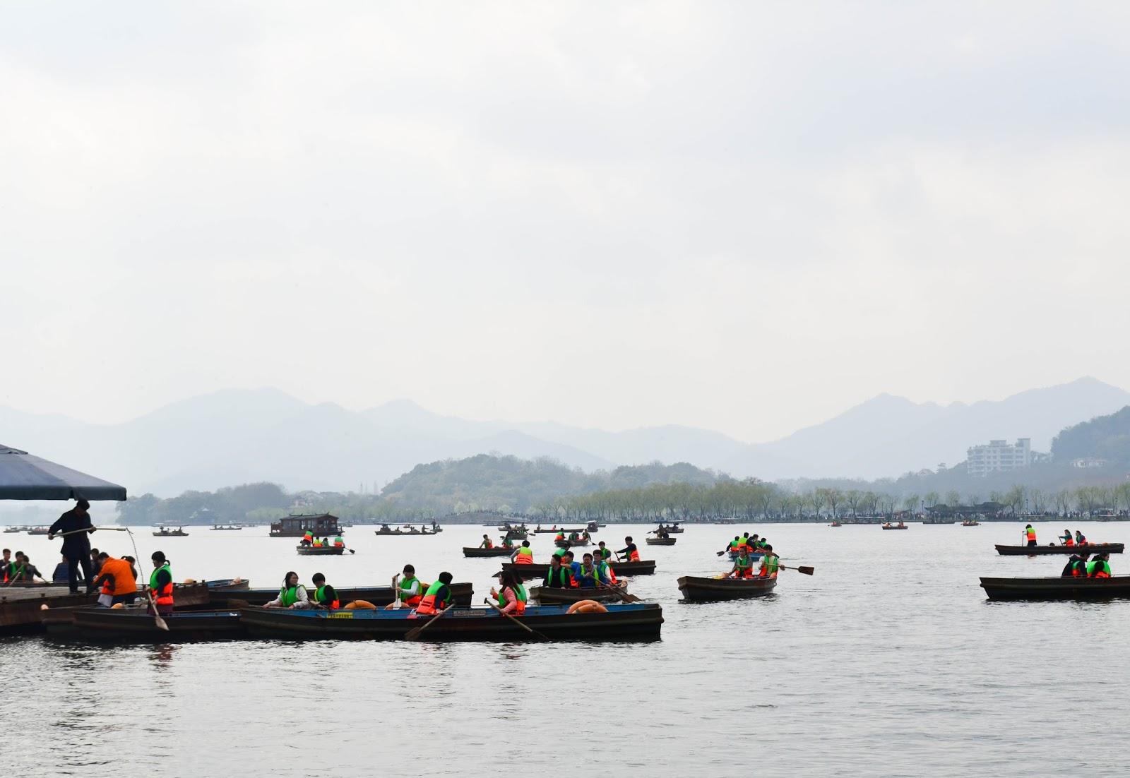 boats on the lake of hangzhou