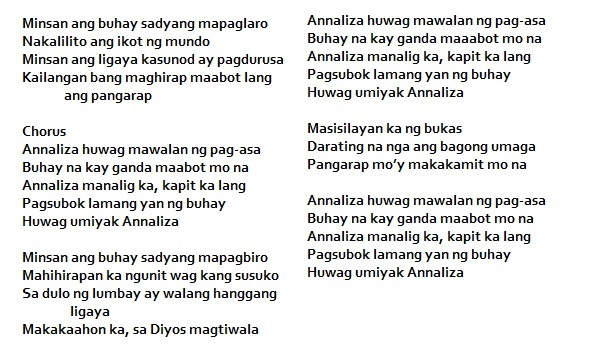 ANNALIZA THEME SONG LYRICS