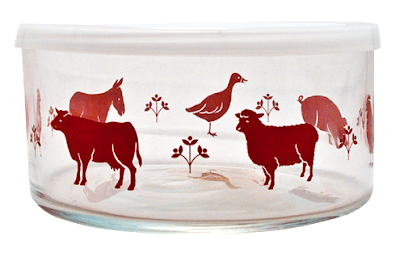 glass food storage bowl, with farm animal design