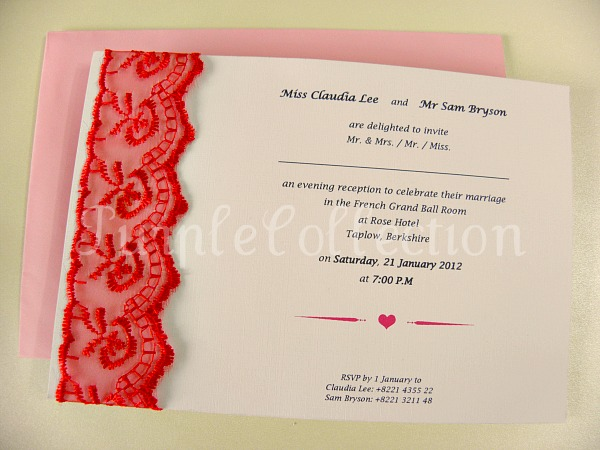 Lace Theme Wedding Invitation Card, wedding invitation card, lace theme card, lace card, lace invitation card, wedding card, handmade card, red