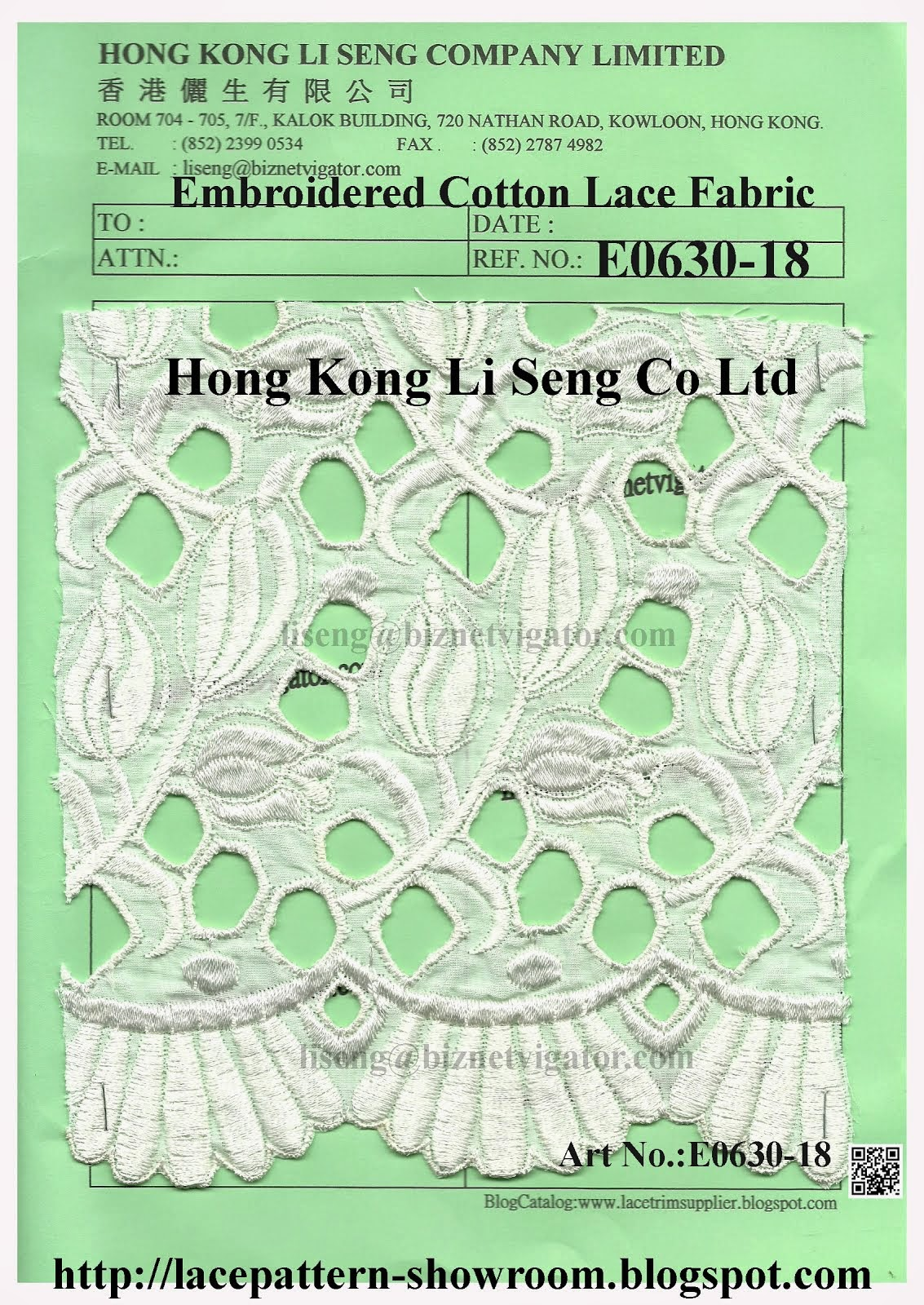 New Lace Pattern - Embroidered Cotton Lace Fabric Manufacturer Hong Kong Li Seng Co Ltd