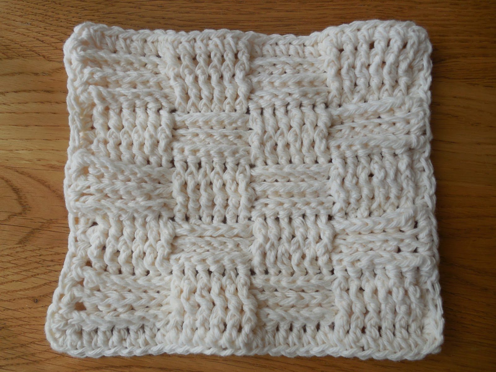Free Crochet Pattern For Basket Weave Dishcloth : Hooked On Handmade: Basket Weave Dishcloth