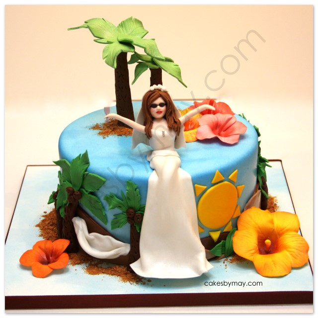 tropical bridal shower cake i absolutely love this cake it was designed to show the brides fun and lively personality all details were made out of