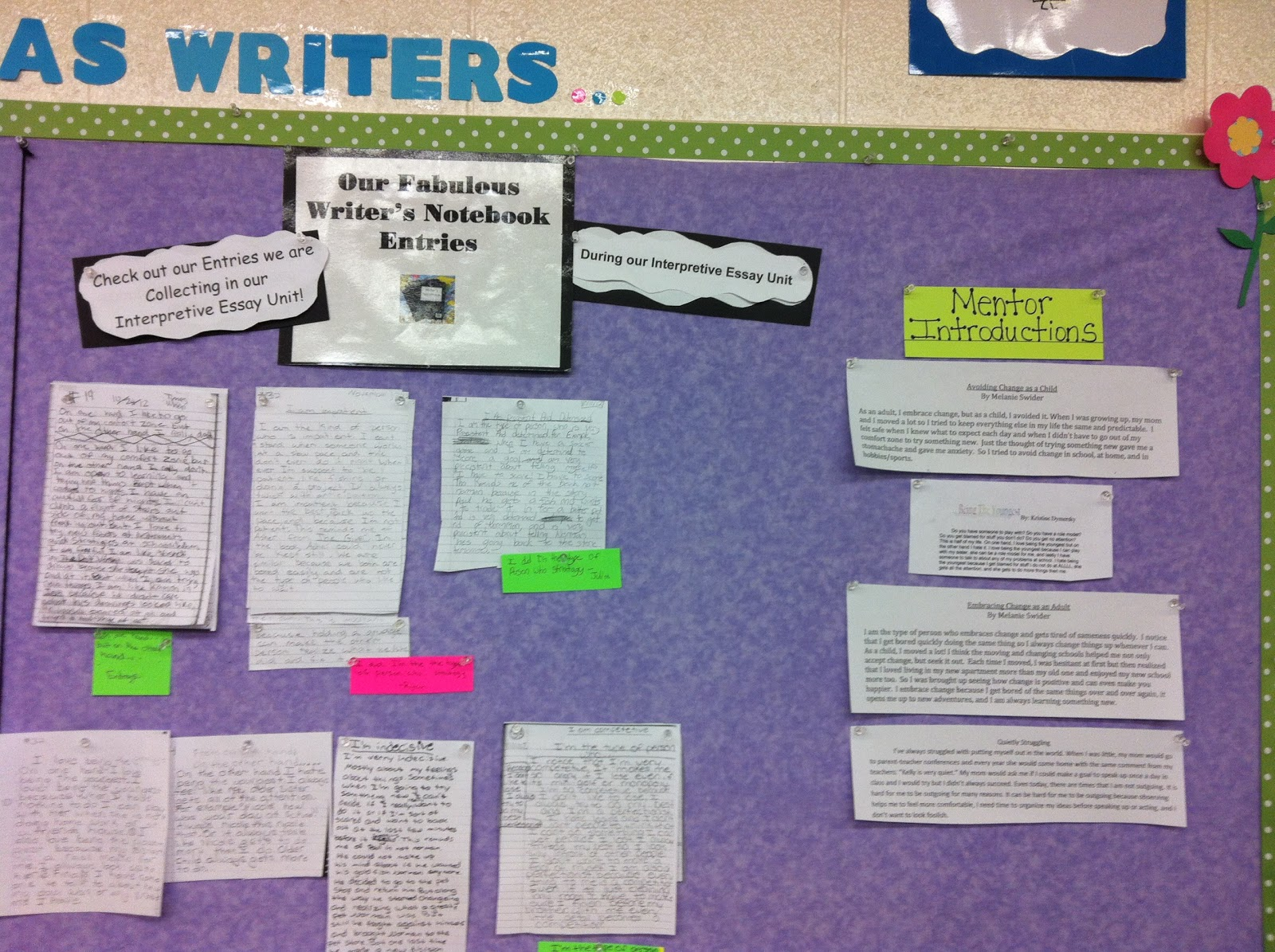 two reflective teachers bulletin boards and charts interpretive essay unit bulletin board displaying entries and mentor introductions from students