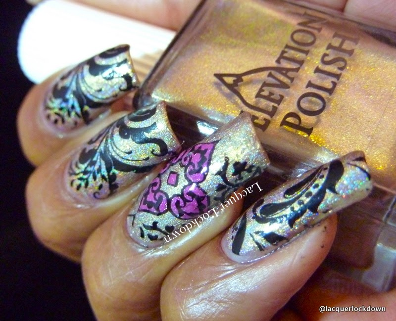 Lacquer Lockdown - Elevation Polish, Elevation Polish Italian Collection, Elevation Polish Tre Cime de Laverdo, Cheeky 2013 Jumbo plate 3, Cheeky European Romance Jumbo plate,, Mundo de Unas stampng polish,  nail art stamping blog, nail art stamping, cute nail art ideas, diy nail art